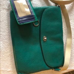 Green coach bag and wallet